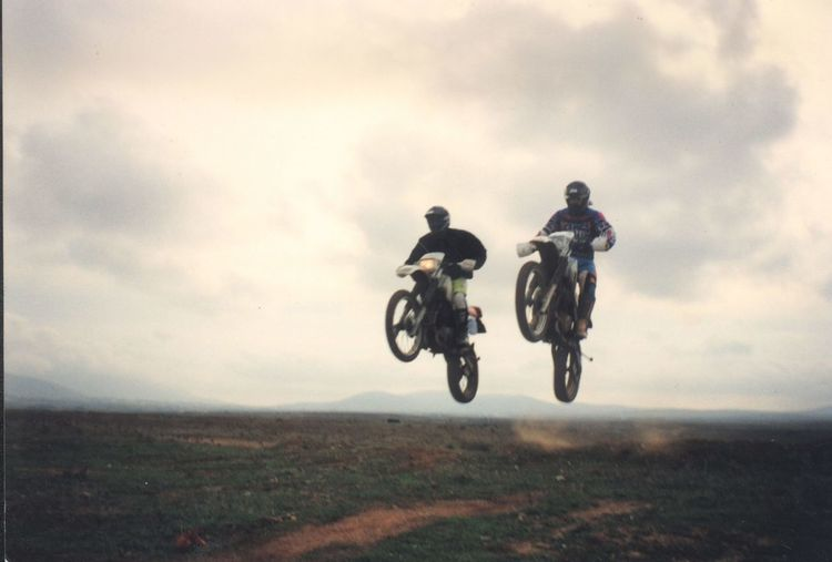 Flying Years 2 Adventure Day Dirty Bike Film Film Photography Freedom Helmet Motocross Motorcycle Old Only Men Outdoors Past Years Two People