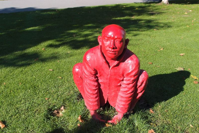 EyeEmNewHere Statue Day Field Full Length Grass Green Color High Angle View No People Not Real People Outdoors Red Red Color Red Statue Sculpture Statuary EyeEmNewHere