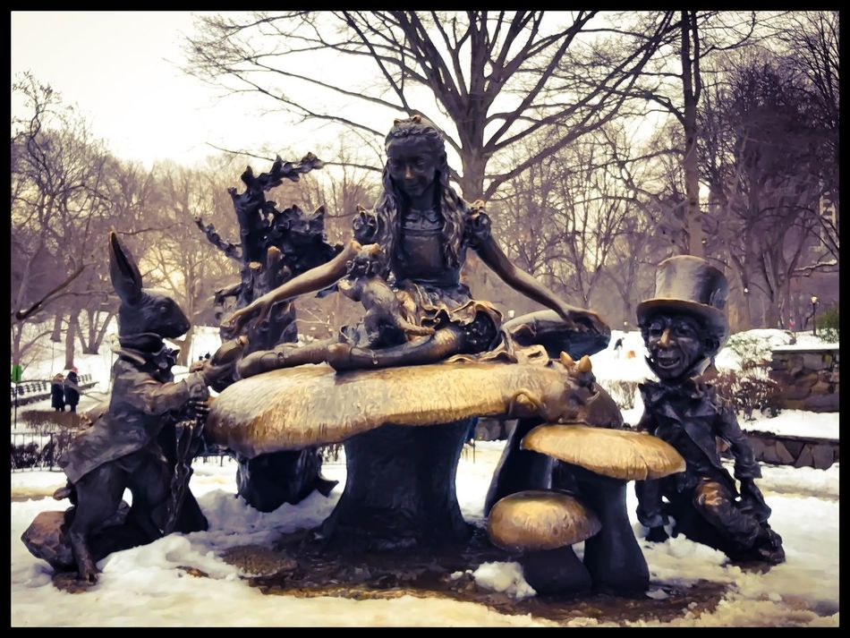 Statue Sculpture Tree Human Representation Outdoors Bare Tree Day Sky Nature Architecture No People New York City Central Park USA Frozen Aliceinwonderland