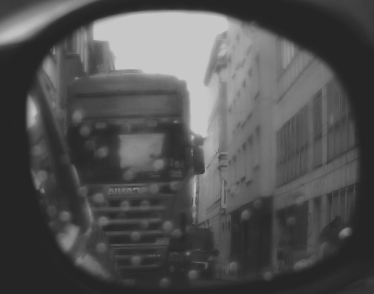 Rearviewmirror Mirror Raindrops Blurred Glitch Truck Car Bnwphotography Black + White Simple Photography Looking Through Window Everybodystreet