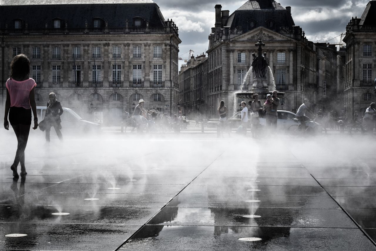Bordeaux Bordeaux, France France Place De La Bourse Mirroirdeau Mirror Mist Misty Fog Foggy Architecture Building Exterior Water Architecture Wet Cloud - Sky Sky City Life City Cloud People And Places