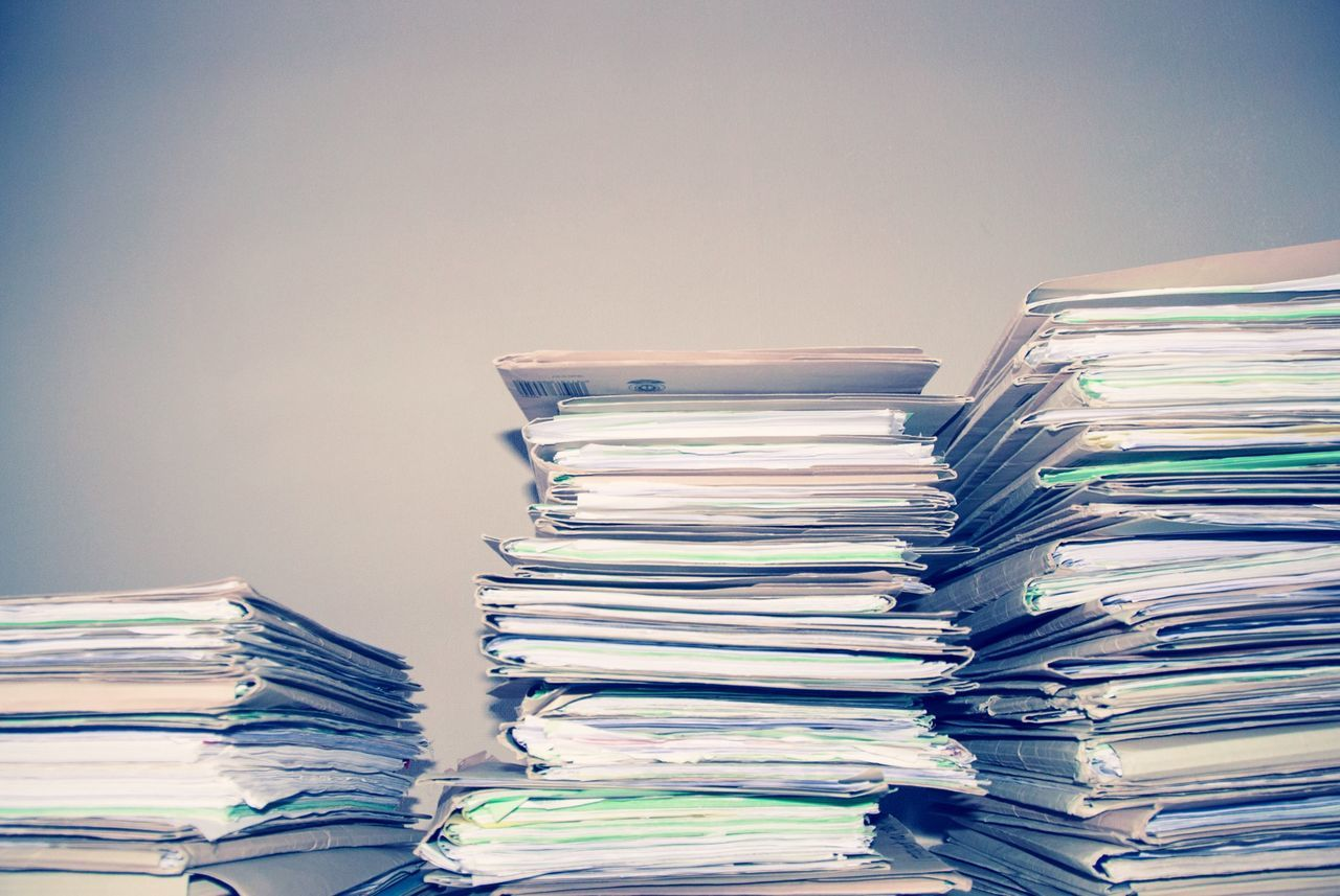 stack, large group of objects, file, heap, abundance, paperwork, indoors, arrangement, excess, paper, no people, business, close-up, day