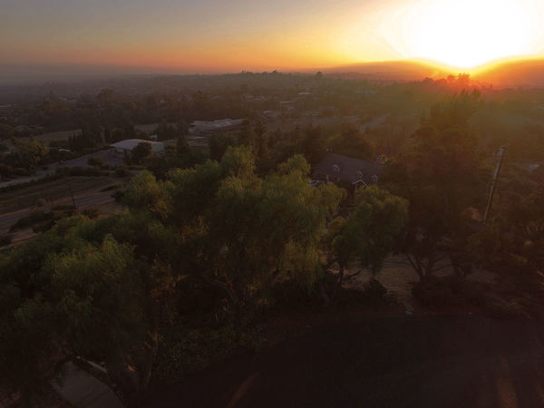 August 12 sunset view of Fallbrook from a low flying drone east of town. Drone Shot Fallbrook Sunset