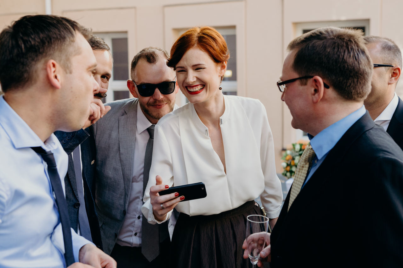 Communication EyeEm Gallery Female Friends Friendship Happyness Joy Laughing Male Party Real People Smile Technology Togetherness Wedding Well-dressed Young Adult