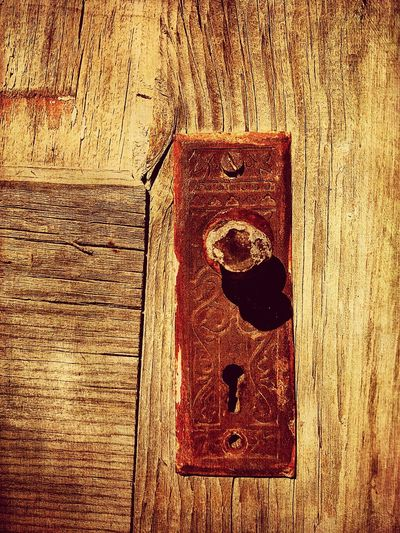 """""""Mystery Ranch No. 16"""" Skeleton Key Required. New Mexico Photography New Mexico Entryway Entry Weathered Wood Weathered Doorknob Rusted Mystery Doors Door Skeleton Key  Wood - Material Door No People Close-up Textured  Lock"""