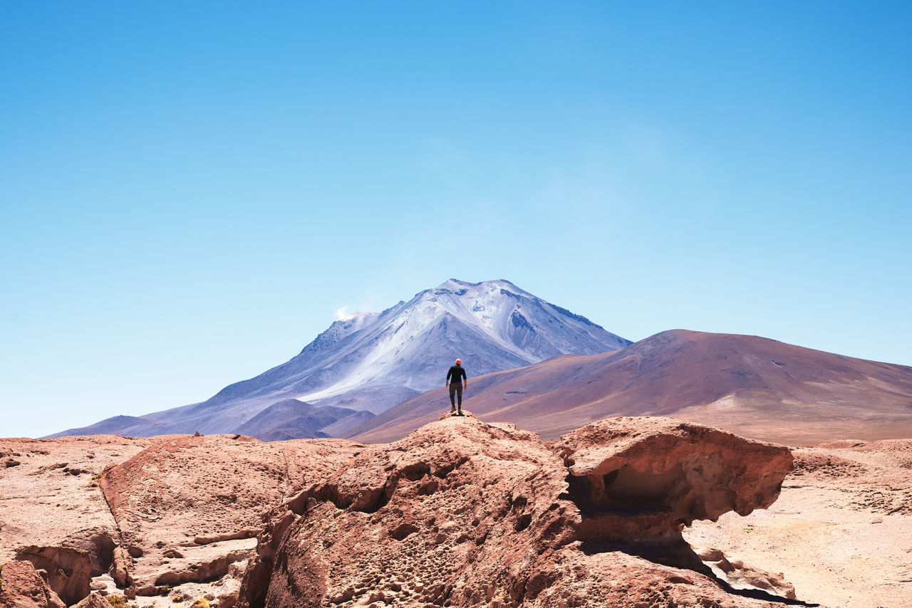 Ollague Volcano, between Chile and Bolivia Bolivia Landscape_Collection Nature Ollague Volcanoes arid climate beauty in Nature Clear sky Desert extreme terrain geology landscape landscape_photography mountain Nature one person outdoors physical geography real people remote rock - object tranquil scene travel destinations The Week on EyeEm The Week on EyeEm