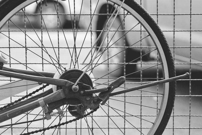 Airplane Bicycle Close-up Day Land Vehicle Mode Of Transport No People Outdoors Spoke Tire Transportation Wheel