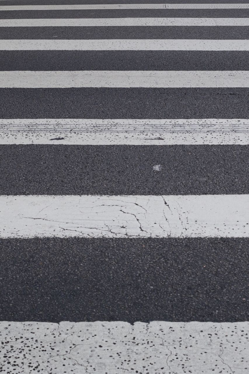 zebra crossing, striped, road marking, transportation, asphalt, white line, street, road, backgrounds, full frame, outdoors, textured, no people, line, day, zebra, city