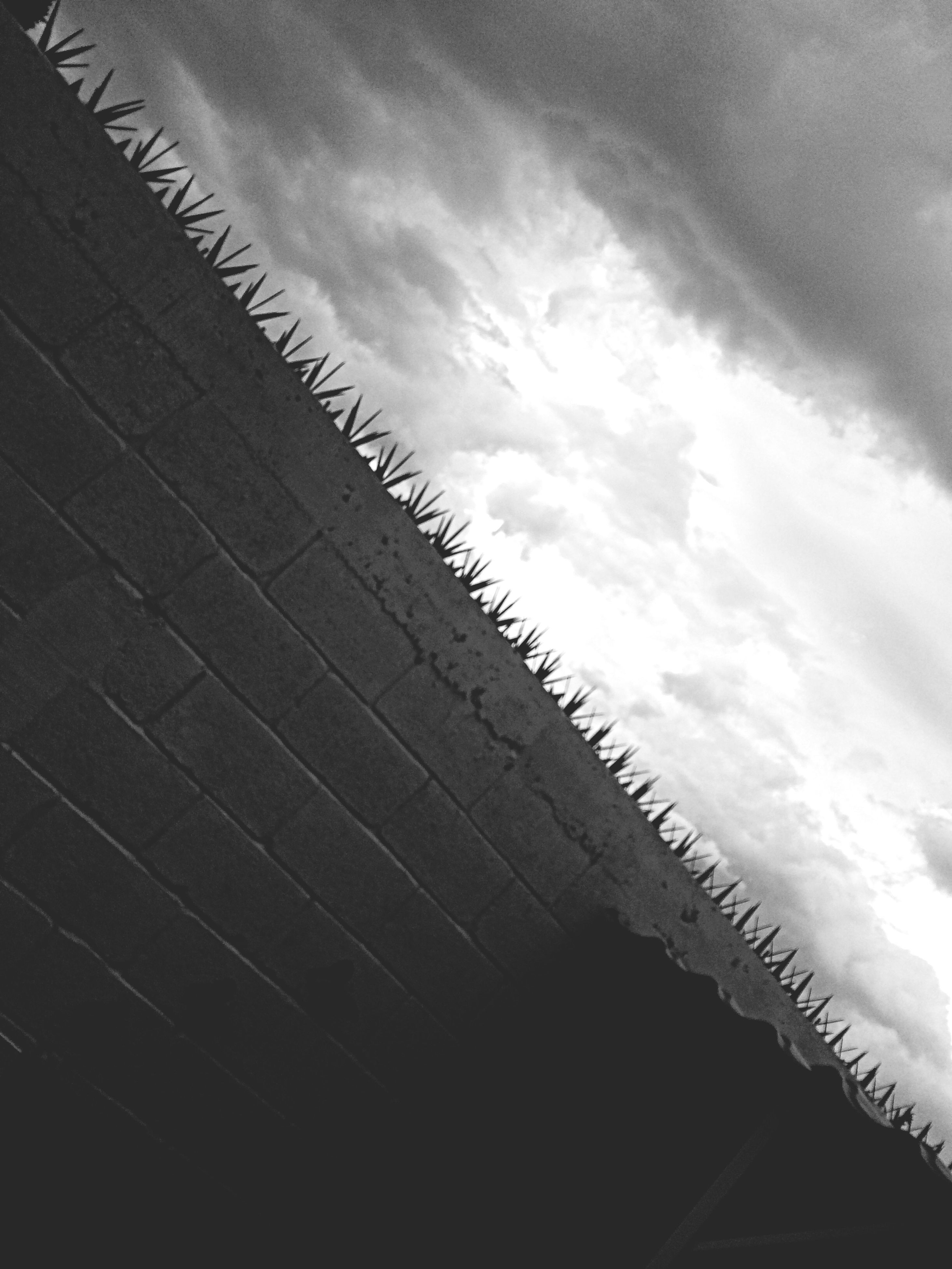 low angle view, sky, flying, silhouette, cloud - sky, bird, cloudy, built structure, architecture, no people, outdoors, day, cloud, nature, building exterior, tilt, part of, overcast, in a row, dusk