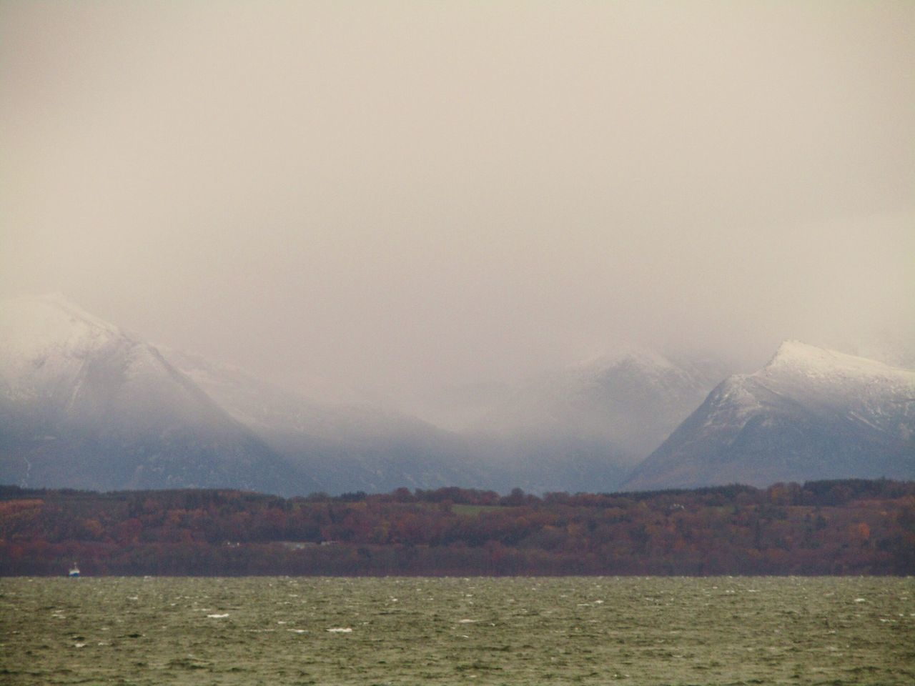 Nature Autumn Landscape Snow Caped Mountain Background No People Isle Of Arran  For Ground Isle Of Bute Chopy Seas Beauty In Nature Scotland Mountain Water