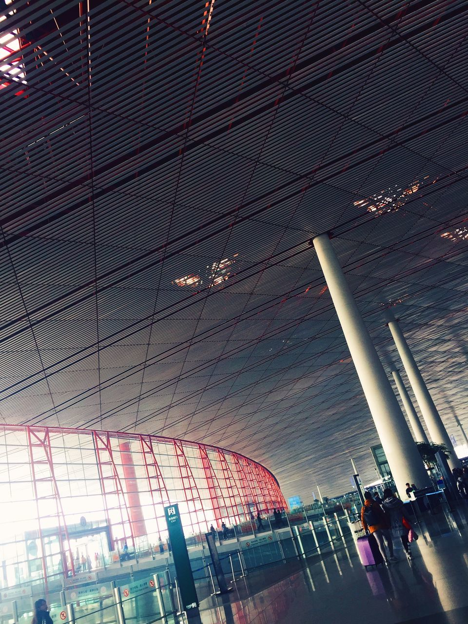 low angle view, ceiling, built structure, architecture, transportation, indoors, airport, illuminated, day, no people, airplane, sky