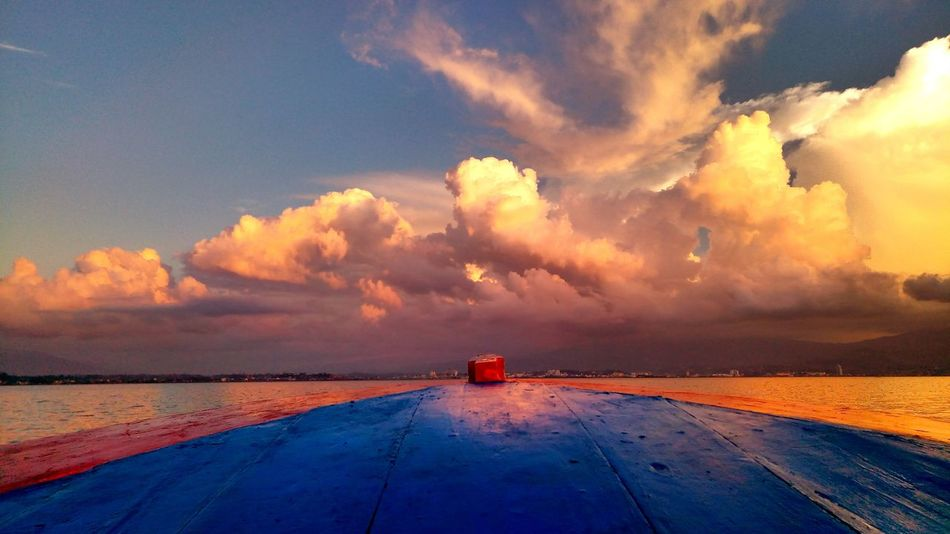 Sunset Transportation Cloud - Sky Sky Landscape Summer Nature Sea EyeEmNewHere Life Is A Beach Tranquility Dramatic Sky