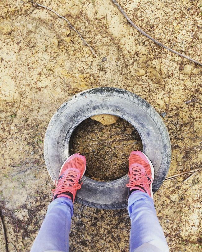 Shoe Low Section Person Personal Perspective Standing Directly Above Human Foot Men Footwear Day Outdoors Mud Dirt Road Tyre Mizunoshoes