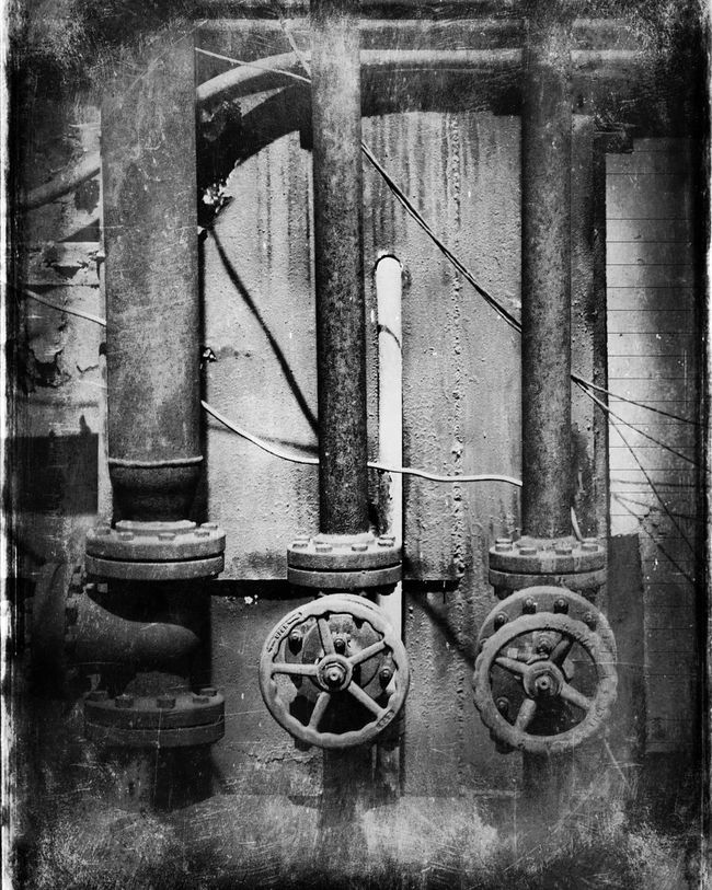 Old valves at the abandoned Bethlehem Steel Mill. Photoshopped image to create antique photo look. Abandoned Abandoned Places Bethlehem Steel Mill Close-up Day Deterioration Metallic No People Obsolete Old Outdoors Pipe - Tube Run-down Stationary Urban Urban Decay