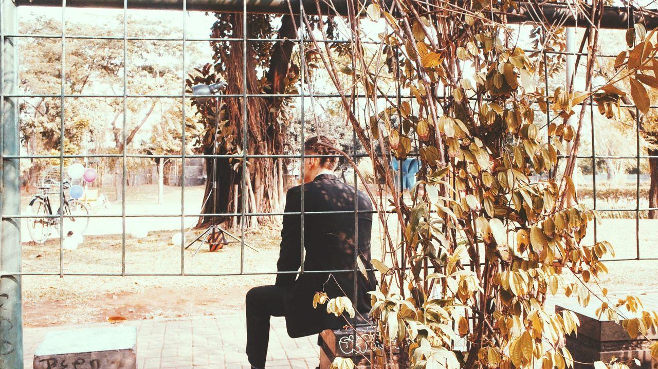 Rear View Of Man Sitting On Seat Seen Through Metal Fence