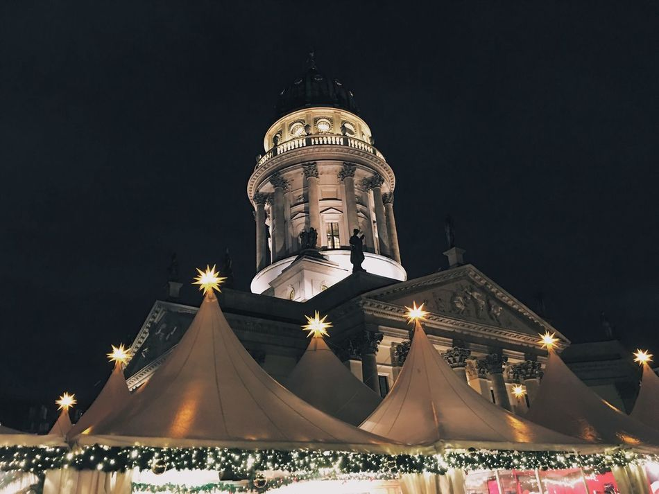 Illuminated Night Architecture Low Angle View Building Exterior Built Structure Religion Spirituality Place Of Worship Tradition Christmas Outdoors Christmas Lights Dome Sky No People Christmas Market