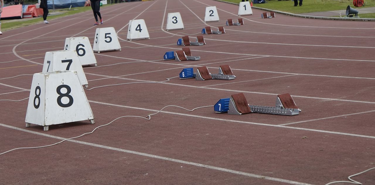 2827 Athletic Blocks Athletics Blocks Bucs Competition Competitive Sport Day High Angle View No People Number Numbers Outdoors Running Track Sport Sports Race Sports Track Starting Blocks Track And Field Live For The Story