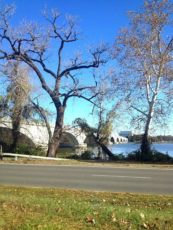 Memorial Bridge Lincoln Memorial Clear Sky Sunday Morning On The Way To Church Before Winter.. Potomac River Bridge