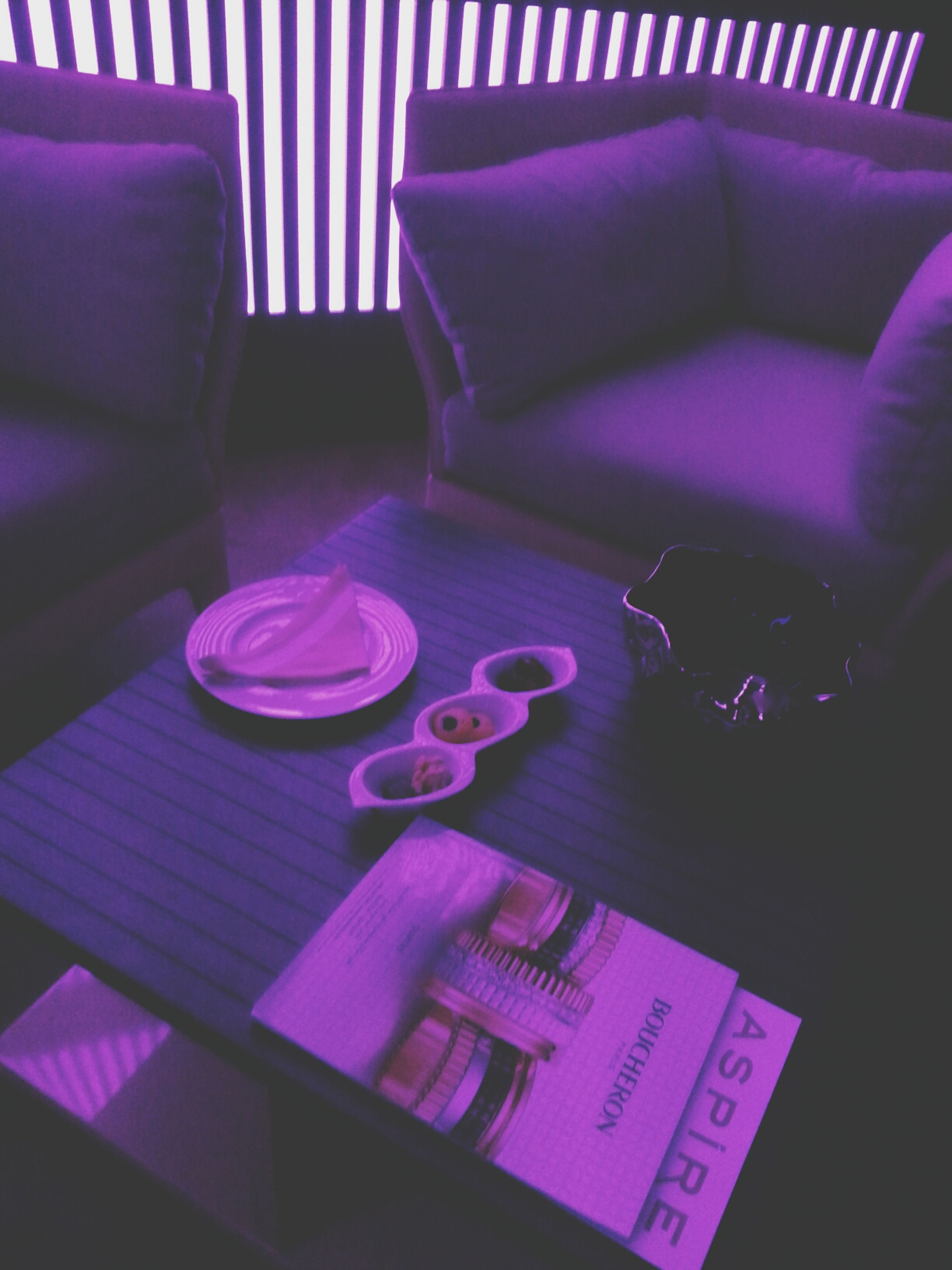 indoors, table, high angle view, still life, book, communication, text, paper, close-up, education, absence, no people, empty, western script, chair, pink color, variation, large group of objects, purple, connection