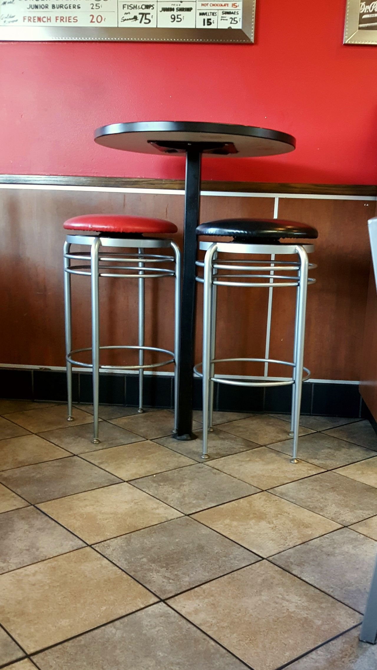 Table Stools Red Black Menu Checkered Pattern Wood Paneling Red Wall Dining Black Tiles Ready-to-eat Ready To Eat Ordering Food