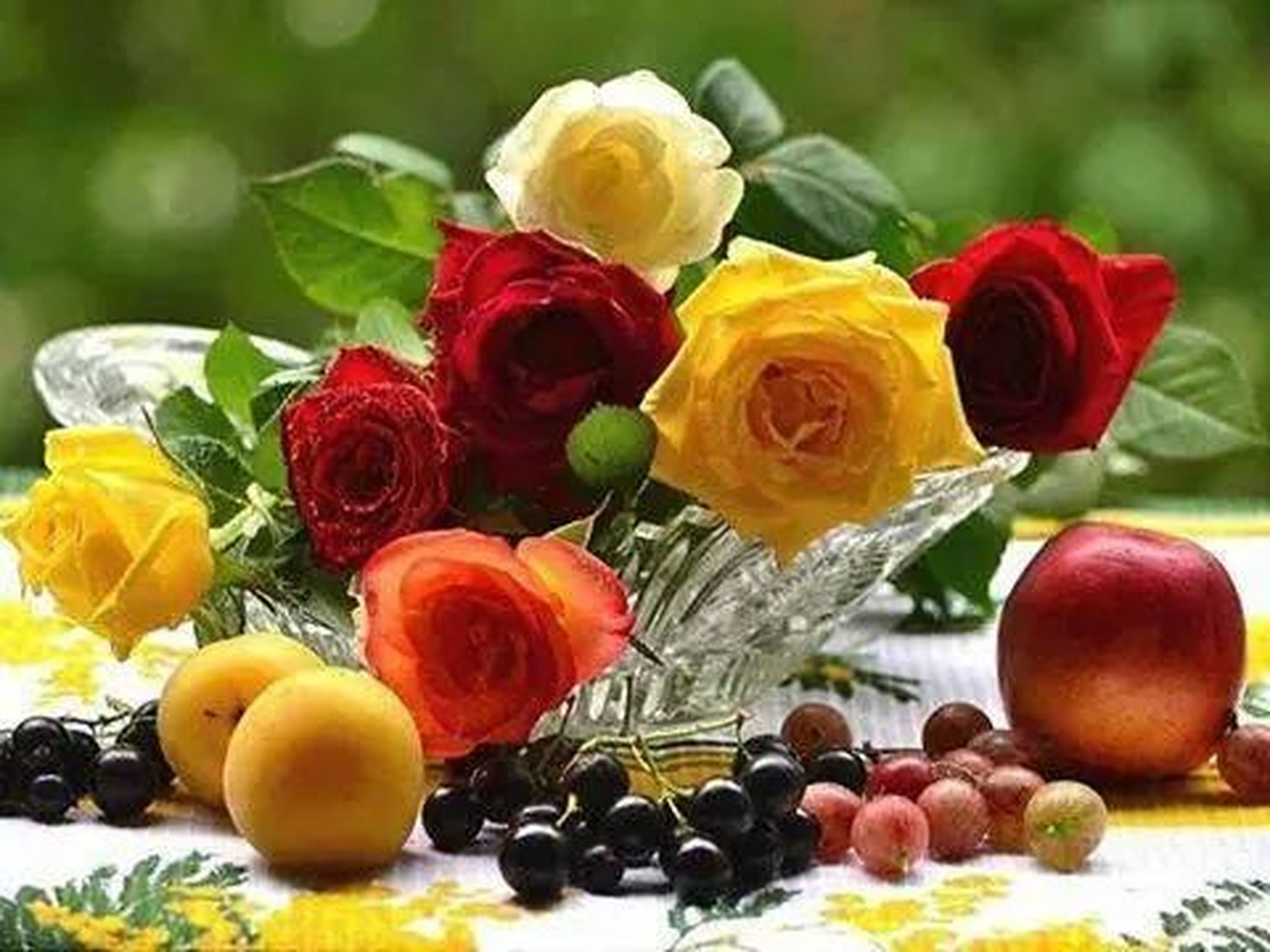 freshness, food and drink, fruit, flower, indoors, food, still life, variation, healthy eating, red, multi colored, close-up, yellow, table, large group of objects, high angle view, focus on foreground, abundance, no people, fragility