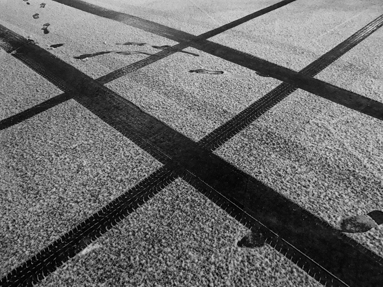 Full Frame High Angle View No People Textured  Snow Crossroads