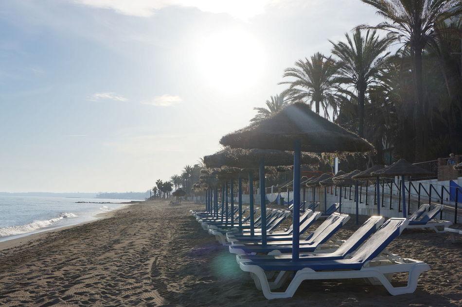 Beach Beauty In Nature Beginning Empty Evening Mediterranean Sea Nature No People Outdoors Sand Summer Season Sunbeds Sunlight Tranquility Water