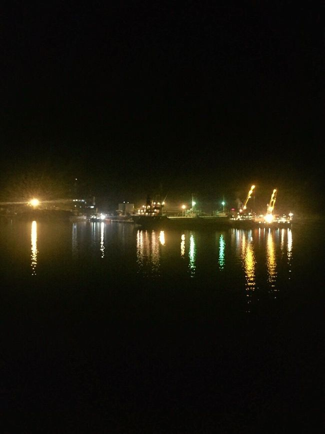 Lembar harbour Night Illuminated Reflection Water No People Sea Outdoors IPhoneography Iphonesia Mode Of Transport Iphonephotography Side View Nightphotography Ship Ships