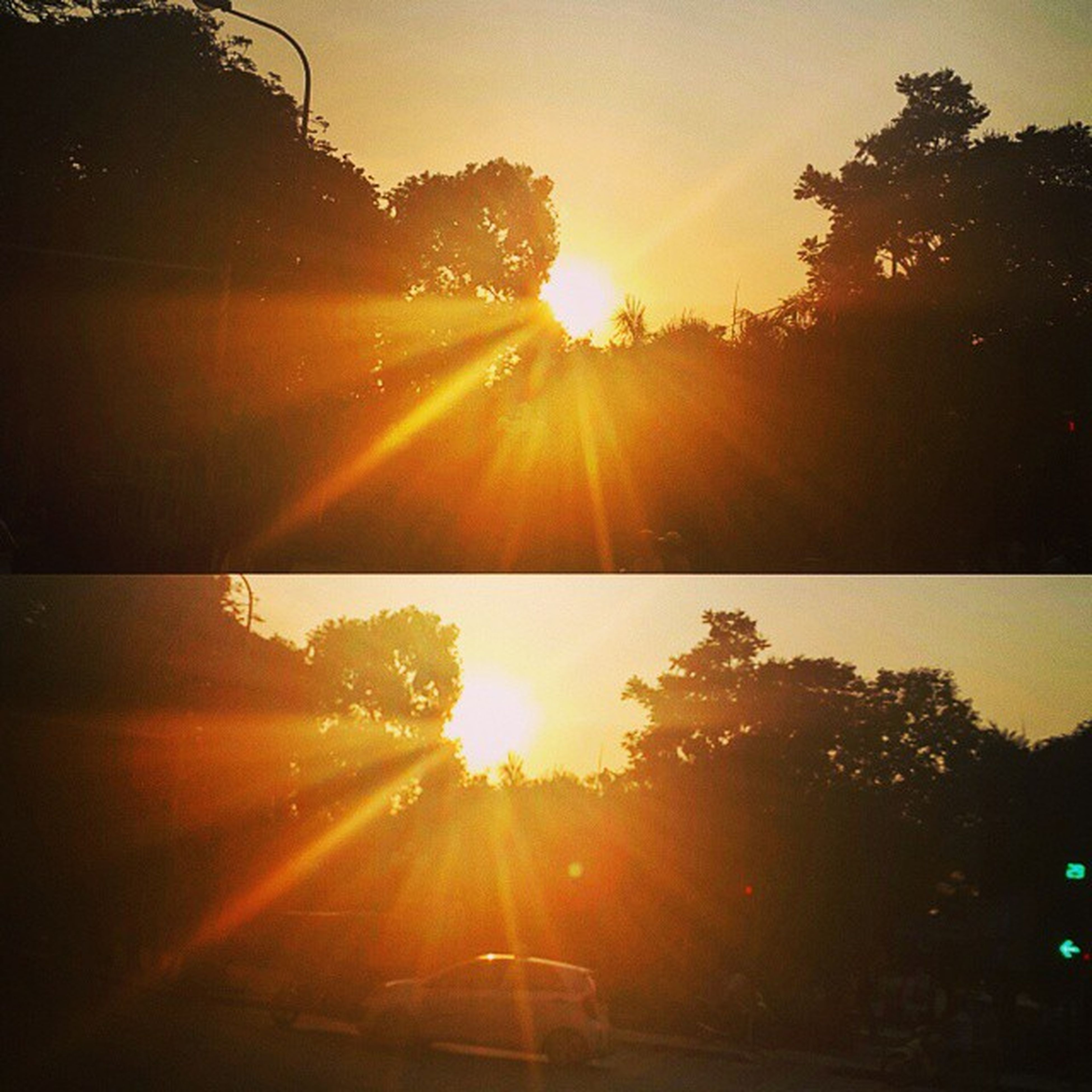 sun, sunset, sunbeam, sunlight, lens flare, tree, transportation, orange color, silhouette, bright, tranquility, sky, nature, beauty in nature, scenics, tranquil scene, car, back lit, road, no people