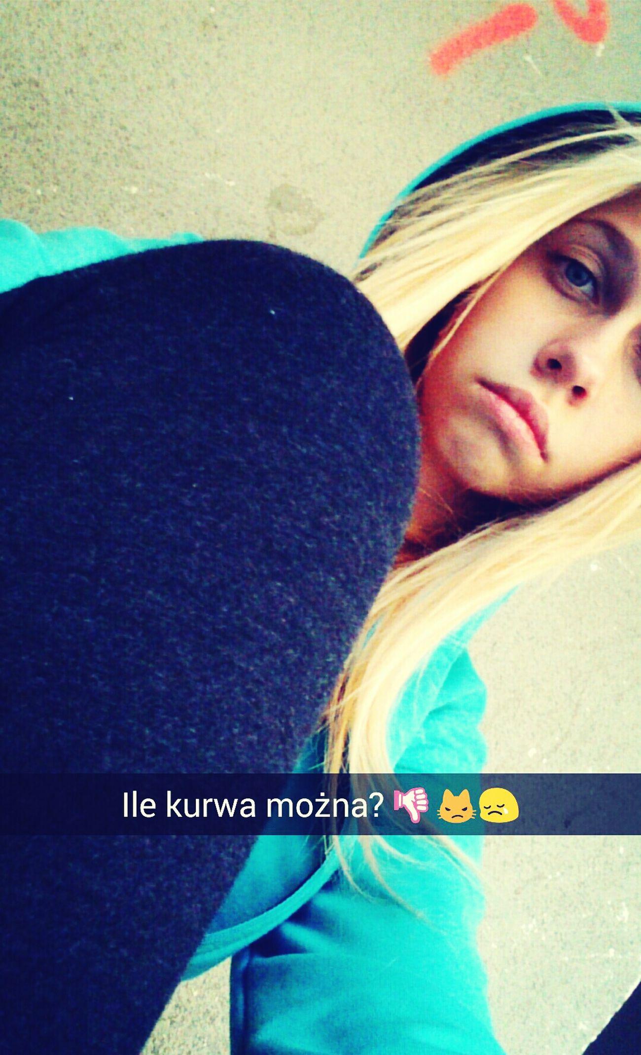 Blonde Hair Blue Eyes. Polish Girl Sad Day