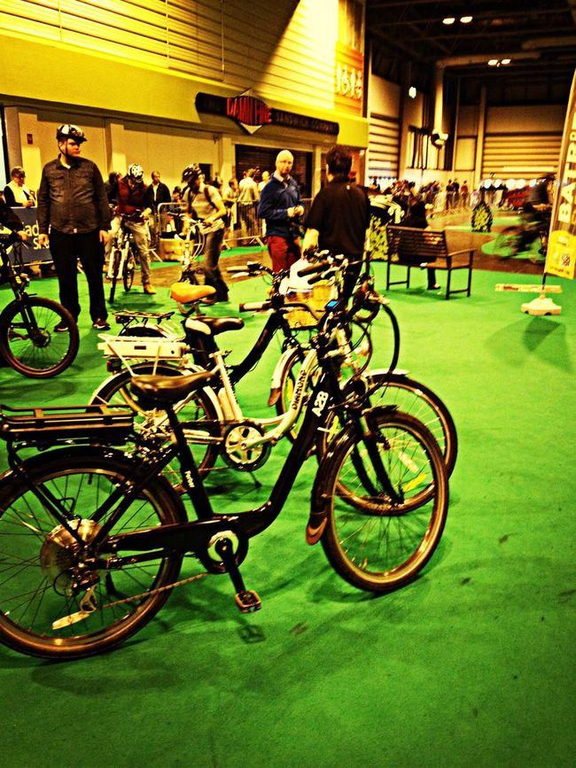Powered bikes at the Gadget Show Live Bicycle Cycling Taking Photos Hanging Out