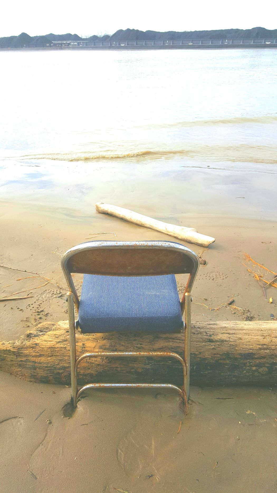 Back Of A Chair Beach Chair Chair On Beac Chair On Shor Day Lonely Chair Metal Chair Nature No People Outdoors Sand Sole Cha