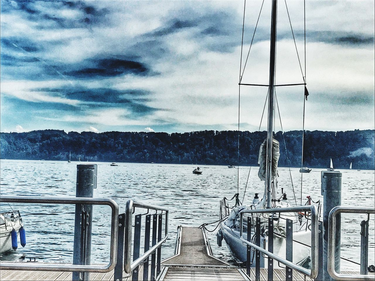 water, sky, railing, nautical vessel, sea, cloud - sky, no people, nature, transportation, mode of transport, day, outdoors, built structure, sailing, scenics, beauty in nature, architecture, scenery, boat deck