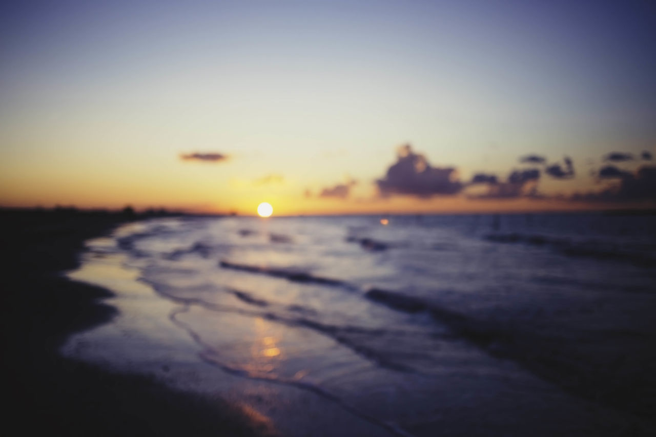 Beach Beach Sunset Beauty In Nature Blue Wave Blurred Blurred Background Blurred Sunset Blurry Blurry Background Blurry Vision Golden Sunset Horizon Over Water Landscape Nature No People Outdoors Reflection Scenics Sea Seascape Sky Sunset Tranquil Scene Tranquility Water