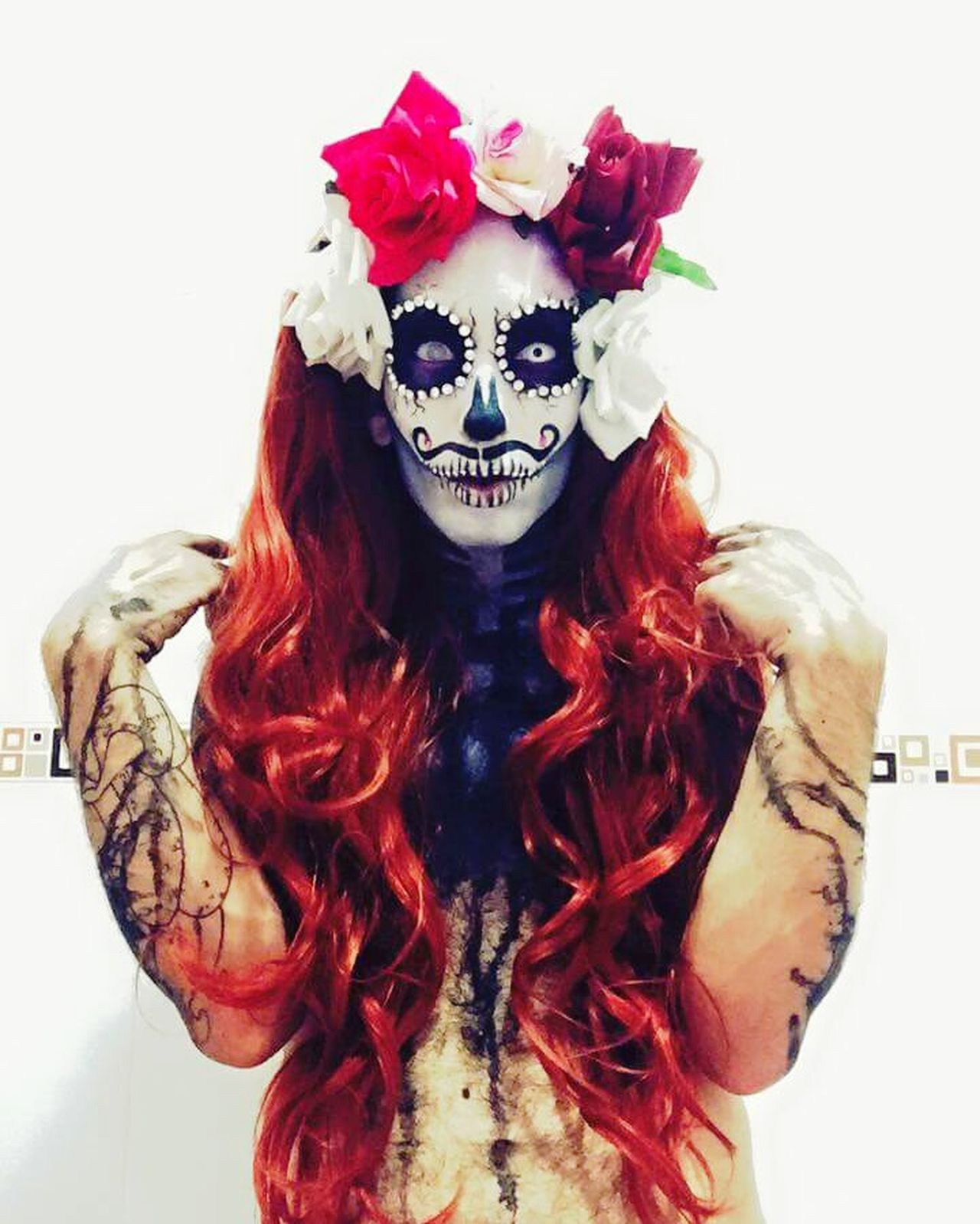 Blood Adult Adults Only One Person People Human Body Part One Man Only Skull Skullmakeup Rupaulsdragrace Automakeup Make-up Followme Maquillaje Painted Image Face Paint Kryolan Makeupartist