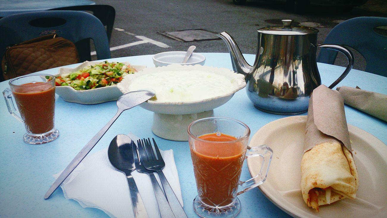Arabic Food Adani Milk Tea Youghurt Cucumber Shawarma Arabic Salad