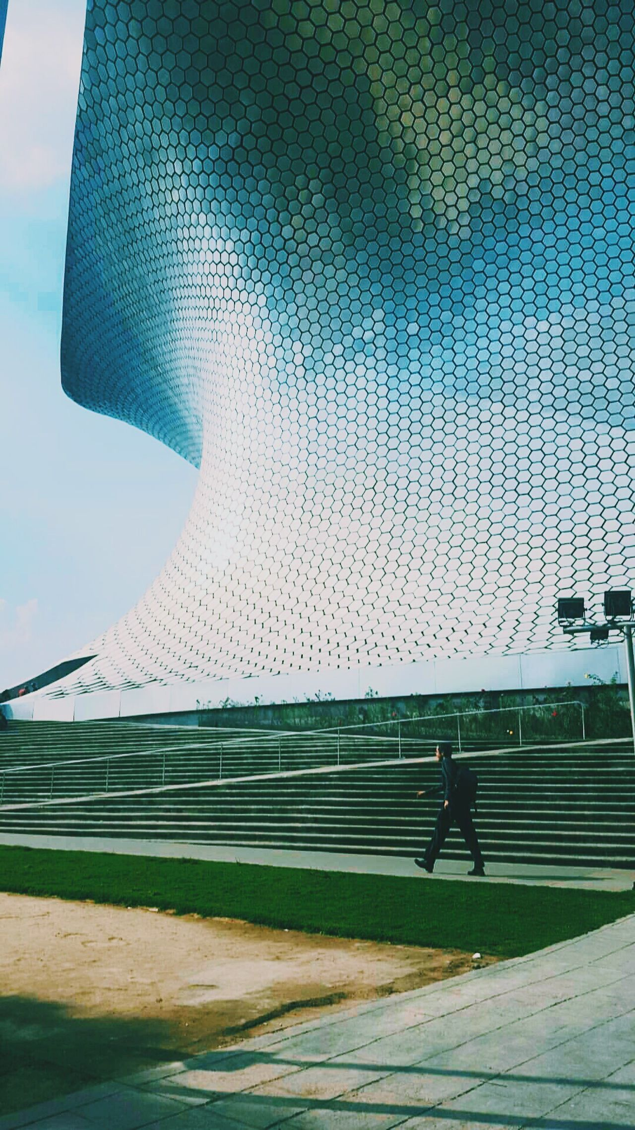 Outdoors Grass Architecture Sky Day Museum Soumaya Mexico Mexicocity  Person Walking No People