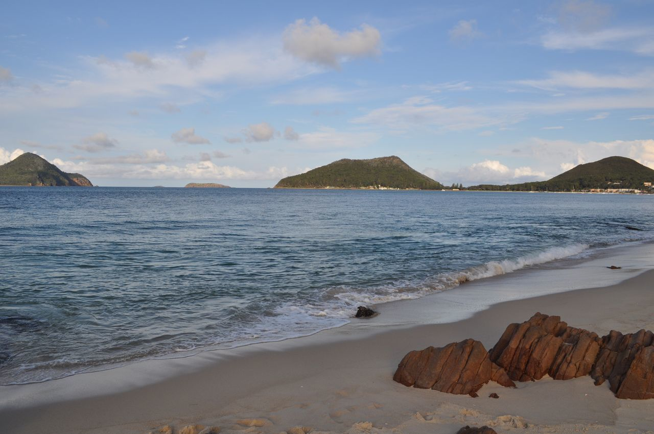 Australia Portstephens Scenics Nature Beauty In Nature Beach Water Cloud - Sky Sand No People Outdoors Horizon Over Water