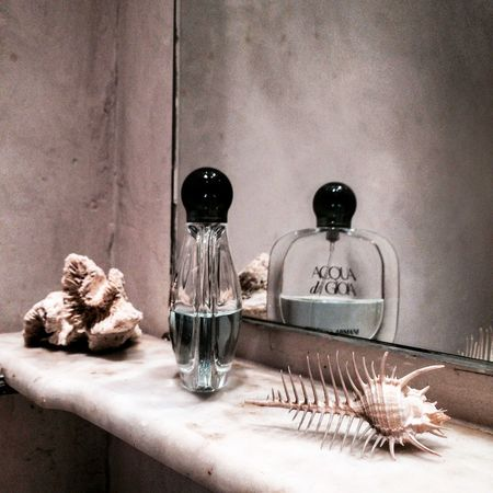 #bathroom #detail #shell #vintage #vintagebathroom Bottle Day No People