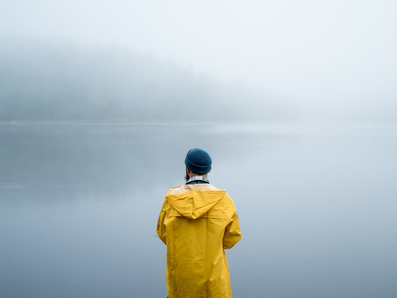 Beauty In Nature Casual Clothing Day Fog Foggy Getting Away From It All In Front Of Lake Leisure Activity Loneliness Men Mountain Nature Non-urban Scene Rear View Remote Scenics Solitude Standing Tourism Tranquil Scene Tranquility Vacations Water Weather Fresh On Market 2016