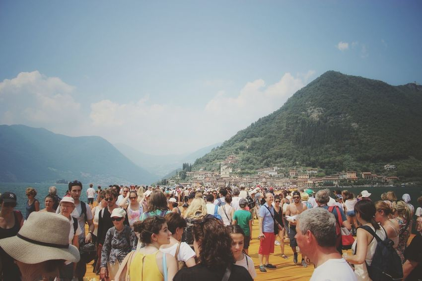 Walking on the Floating piers   Feel The Journey Golden Moments  Sunshine Point Of View Christo And The Floating Piers Close-up The Essence Of Summer Getting Inspired The Floating Piers People Original Experiences Showcase July Lago D'Iseo EyeEm Italy  