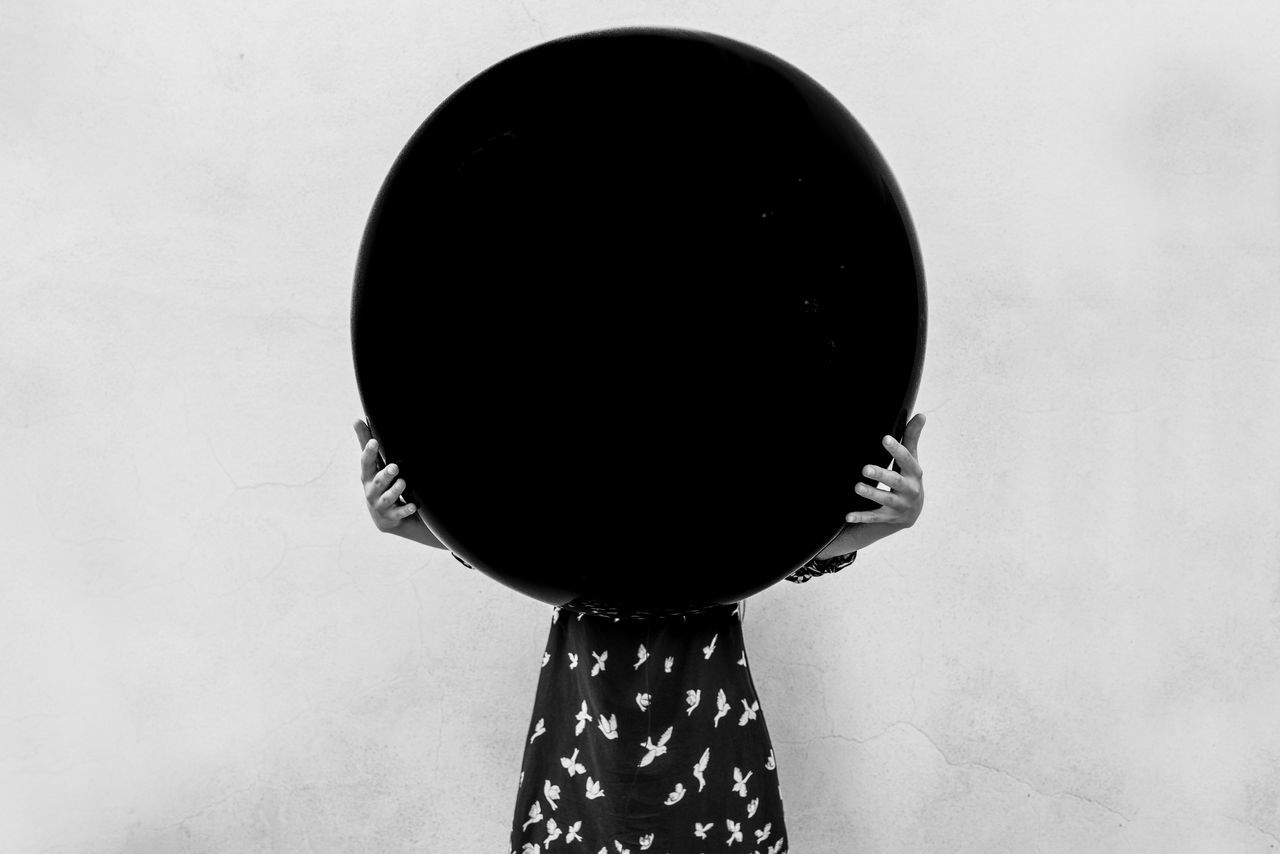 Abstract Abstract Photography Advertising Art Balloon Balloons Black Balloon Black Hole Bnw Bnw_captures Bnw_collection Bnw_friday_eyeemchallenge Bnwphotography Close-up Conceptual Czechgirl Girls Hand Model No Face One Person Pigeons Rear View Standing White Background The Week On EyeEm