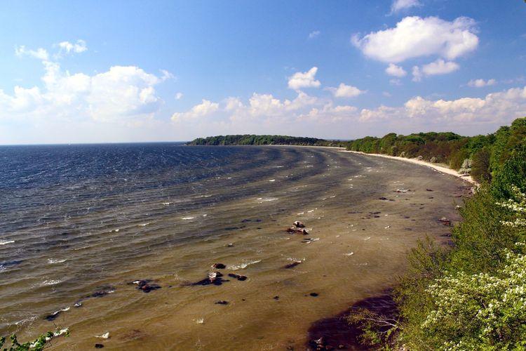 Germany, Island Vilm near Rügen Baltic Sea Bay Beach Beauty In Nature Blue Sky Coast Coastline Day Landscape Nature No People Outdoors Sand Scenics Sea Sky Vilm Water Waves Wind