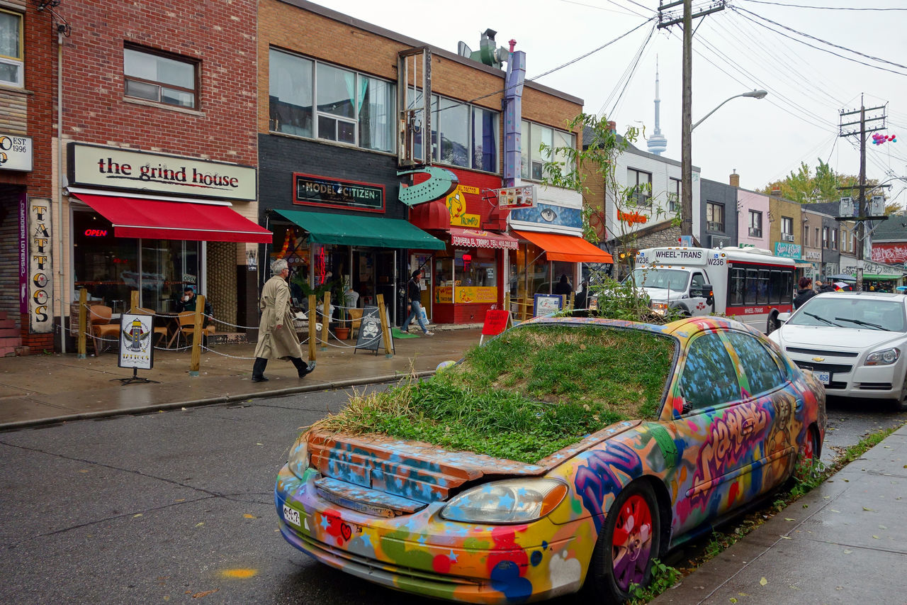 green car Architecture Building Exterior Canada City City Life City Street Plants Street Toronto Adapted To The City