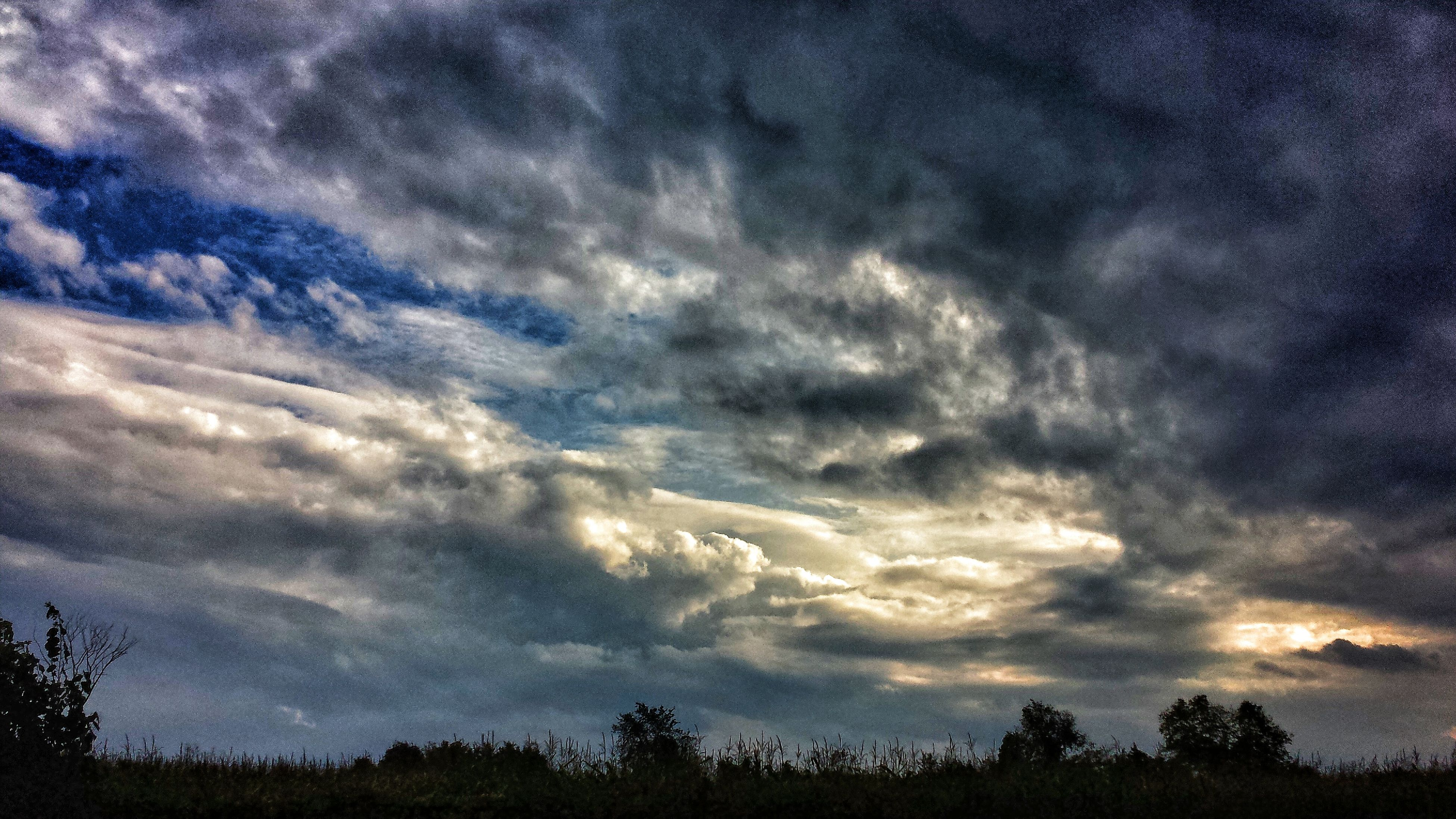 sky, tree, cloud - sky, tranquility, tranquil scene, scenics, beauty in nature, cloudy, low angle view, silhouette, nature, cloud, weather, cloudscape, idyllic, overcast, dramatic sky, storm cloud, growth, outdoors