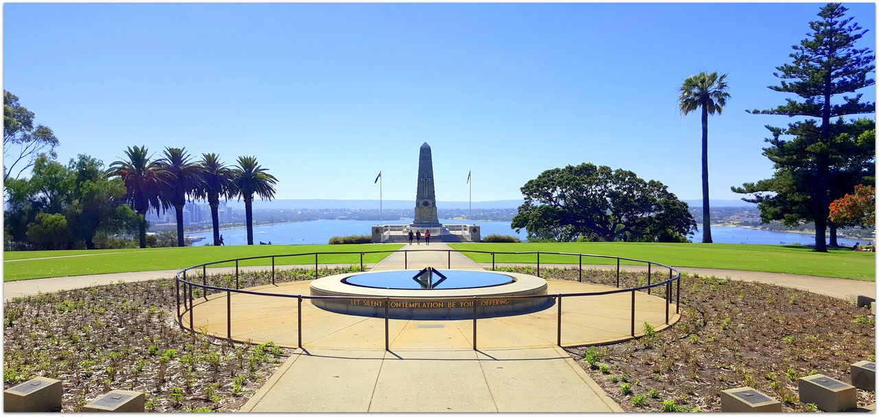 Beach Blue Clear Sky Day Kings Park Nature Outdoors Palm Tree Perth CBD Scenics Sea Sky Summertime Swimming Pool Tranquil Scene Travel Destinations Tree Vacations War Memorial Water