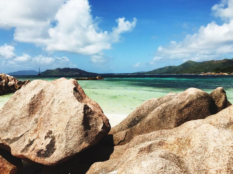 Sky Nature Cloud - Sky Beauty In Nature Scenics Outdoors Sea Day Rock - Object Tranquility Mountain Water Beach No People Seychelles Islands Seychelles Rocks And Water Rocks Amazing Place