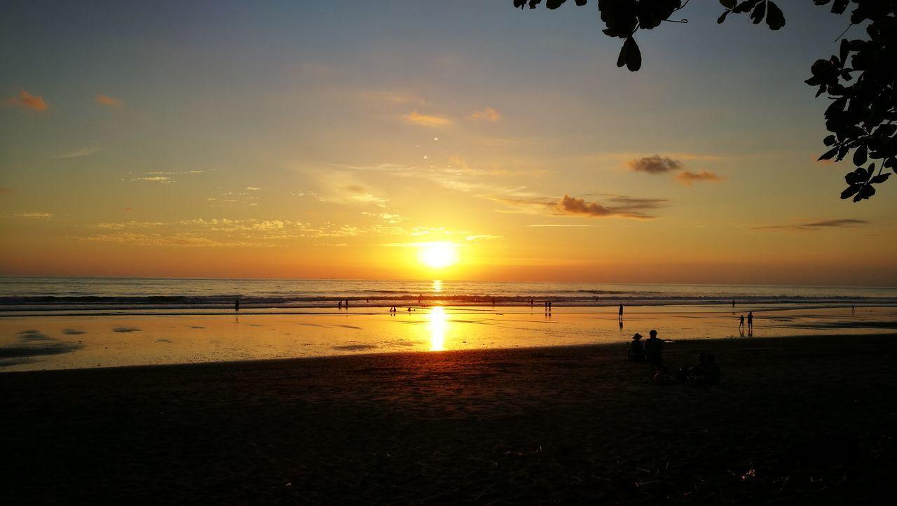 Sunset Sea Beach Horizon Over Water Cloud - Sky Outdoors Silhouette Costa Rica Uvita De Osa