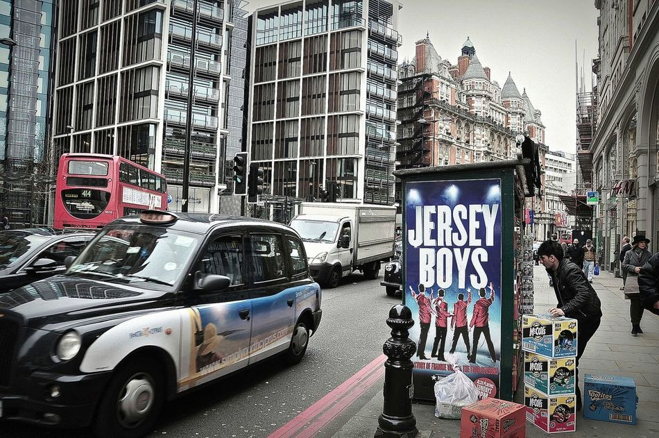 Jersey Boys , Car City City Street Day Jersey Boys Land Vehicle London London Lifestyle Londres Londresj'adore Newspaper Outdoors Street Street Life Street Photography Taxycab Embrace Urban Life Finding New Frontiers