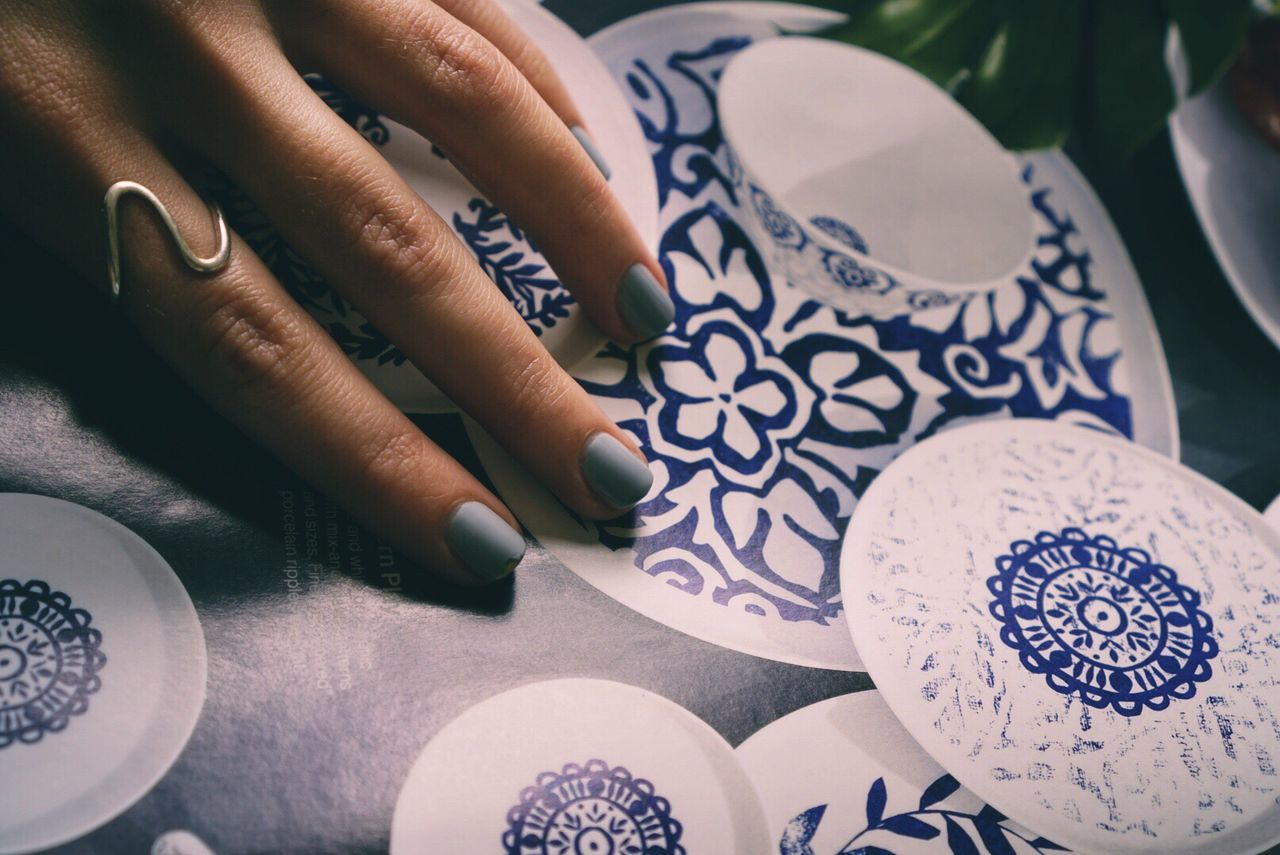 Human Body Part Human Hand Real People High Angle View Table One Person Indoors  Lifestyles Close-up Day Nails Blue Nails Silver Ring Ring Woman Hand Nailpolish Nail Color  Blue Marine